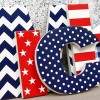 Navy & Red Wooden Wall Letters