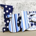 Funky Blue & Navy Patterned Letters