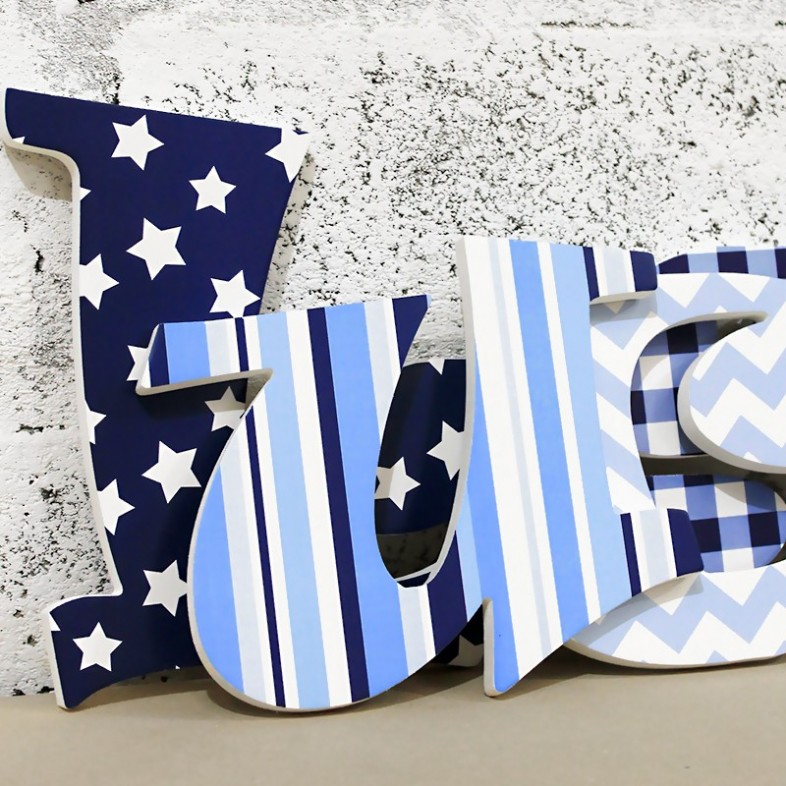 Funky Blue Amp Navy Patterned Letters