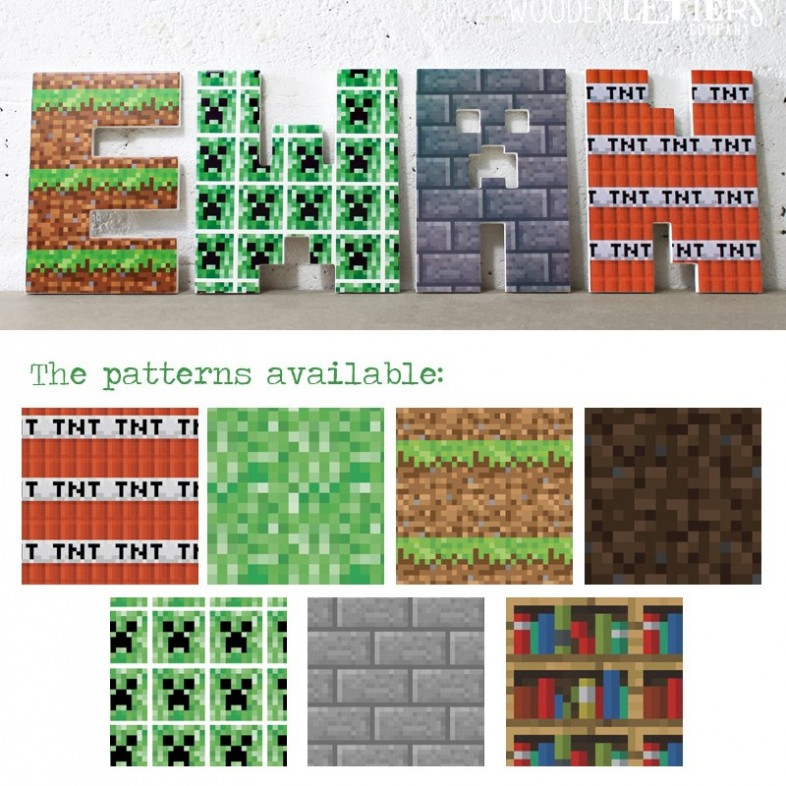 Boy 39 s minecraft themed wooden wall letters for Craft business name generator
