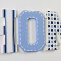 Blue Spots, Stripes & Stitch Line Painted Wooden Letters