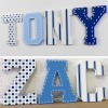 Blue Spots, Stripes & Stitch Line Painted Wooden Letters