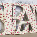 Cream & Pink Floral Roses Wooden Letters
