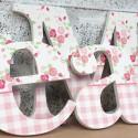 Shabby Chic Roses & Gingham Letters