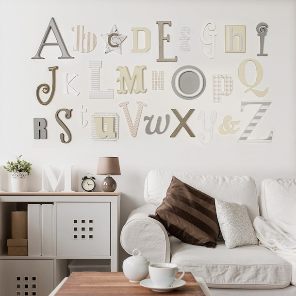 Neutral Mix Alphabet Wooden Wall A-Z Letters