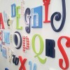 Red Blue Green Alphabet Wooden Wall A - Z Letters