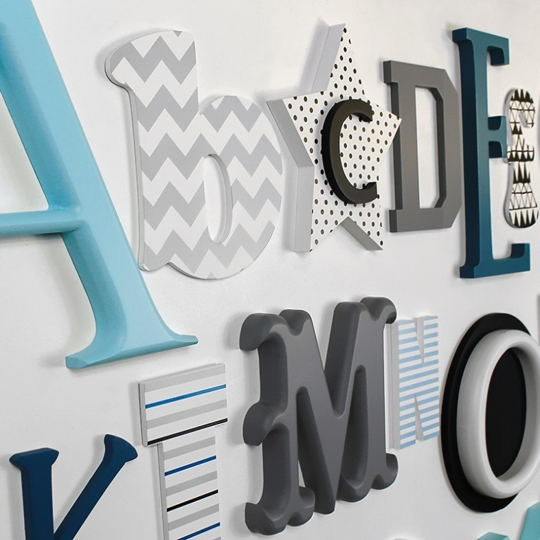 Grey Teal Black Turquoise Alphabet Wooden Wall Letters Full Set