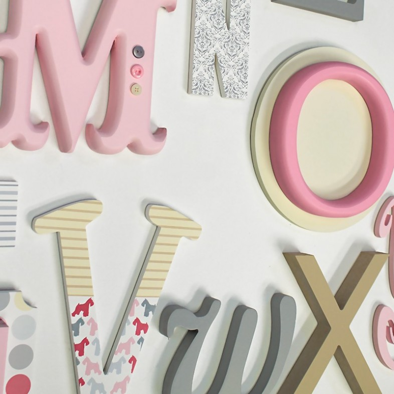 Alphabet wooden wall letters full set pink grey cream for Abc wooden wall letters