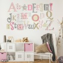 Pink, Grey & Cream Alphabet Wooden Wall Letters Full Set
