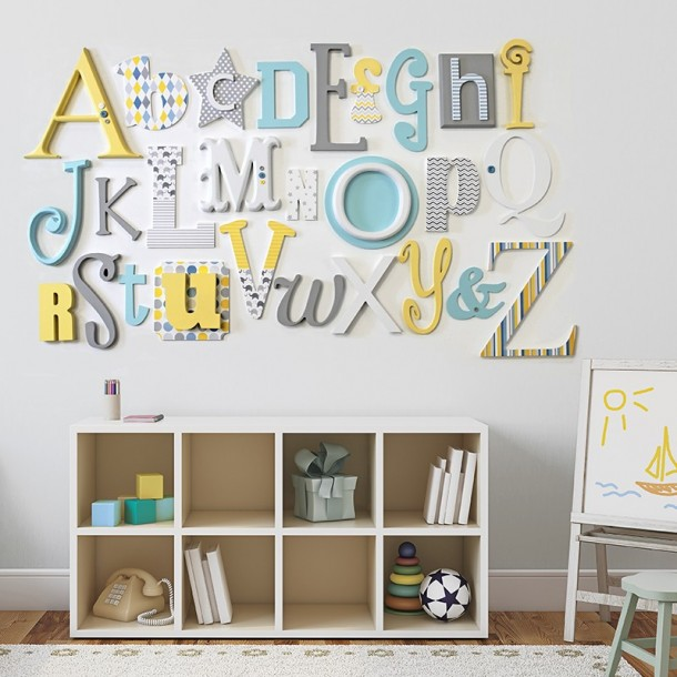 Lemon, Grey Turquoise Alphabet Wooden Wall Letters Full Set