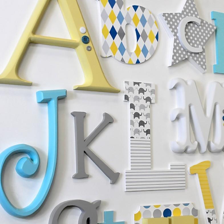 Lemon Grey Turquoise Alphabet Wooden Wall Letters Full Set