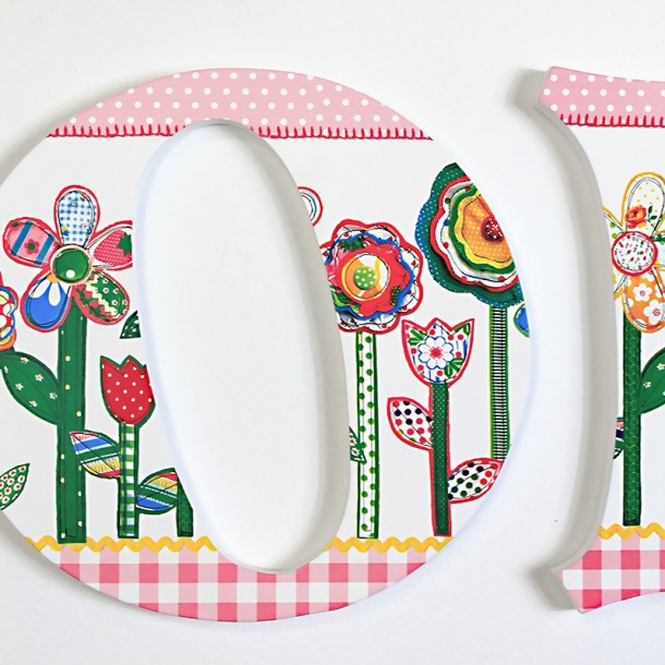 Floral Applique Patterned Wall Letters