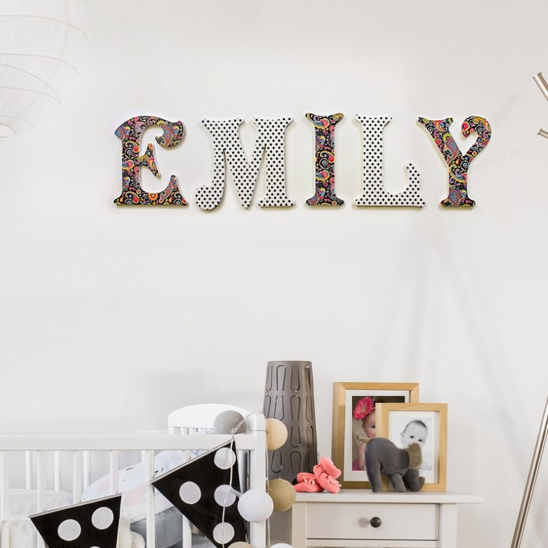 Black paisley polka wooden wall letters for Black wall letters