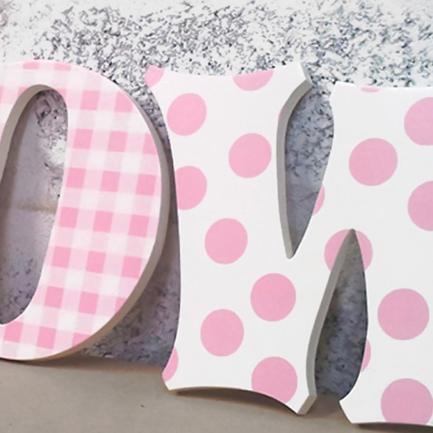 Pink Gingham & Dots Wooden Wall Letters