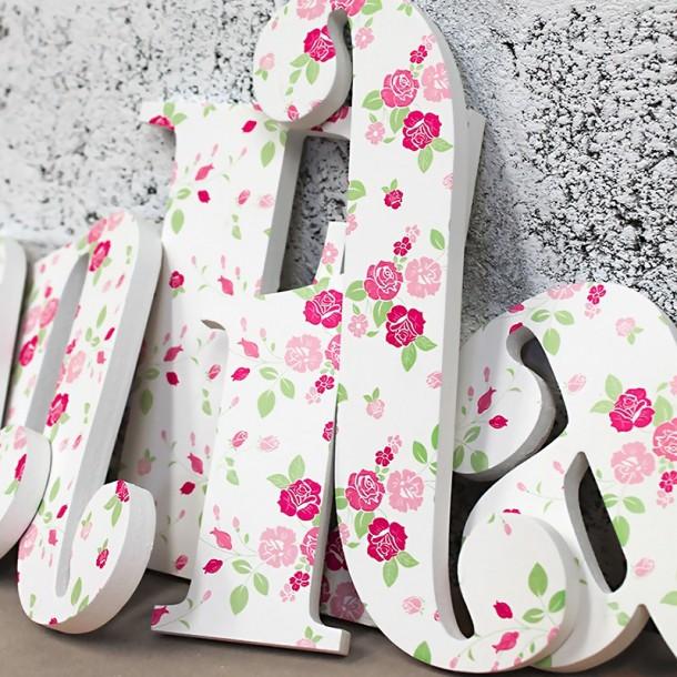 Vintage Floral Roses Pattern Wooden Letters