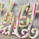 Lime & Pink Stripes and Spots Wooden Letters