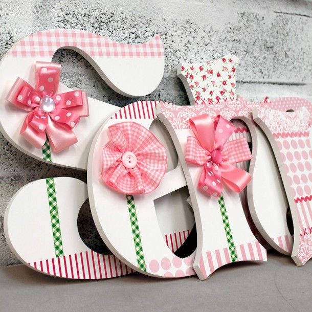 Pink Ribbon Flower Wall Letters