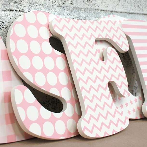 Pink & White Girl's Wall Name Letters