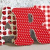 Red & White Patterned Wall Letters