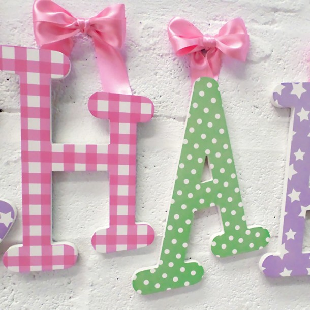 Lilac, Pink & Green Wooden Wall Letters