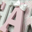 Pink & Grey Damask Letters