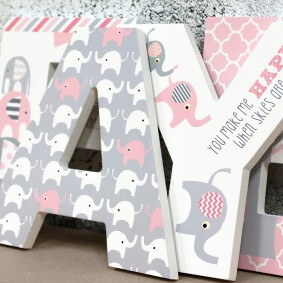 Pink + Grey Elephant Letters