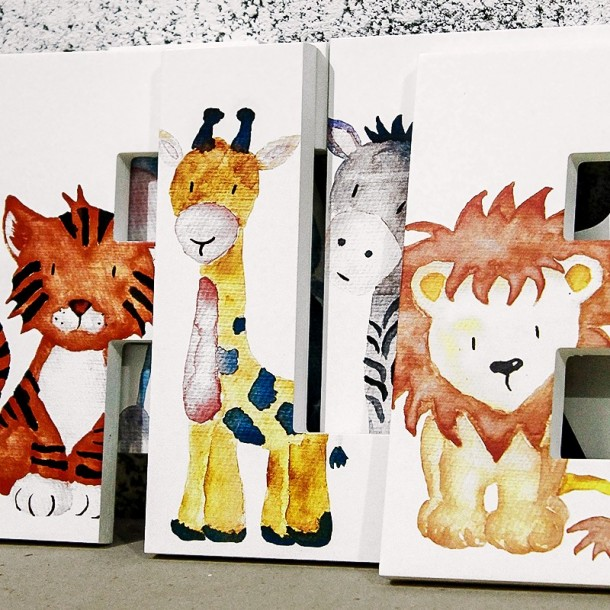 Watercolour Jungle Animals Letters
