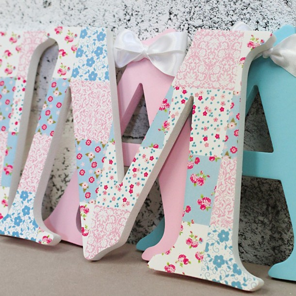 Pink + Blue Patchwork Letters