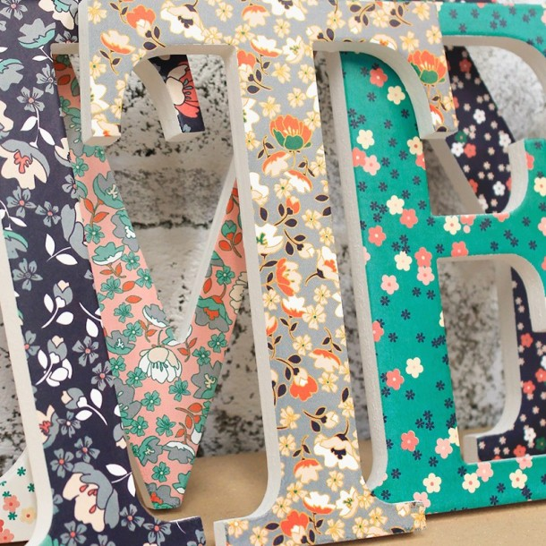 Navy Coral Teal Floral Letters