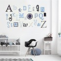 Blue Mix Alphabet Wooden Wall Letter A - Z Set