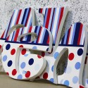 Red Blue Mixed Dots & Stripes Letters