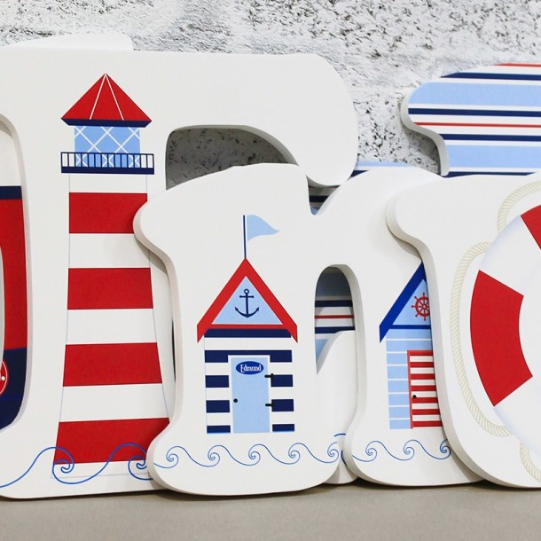 Cute Nautical Wooden Wall Letters