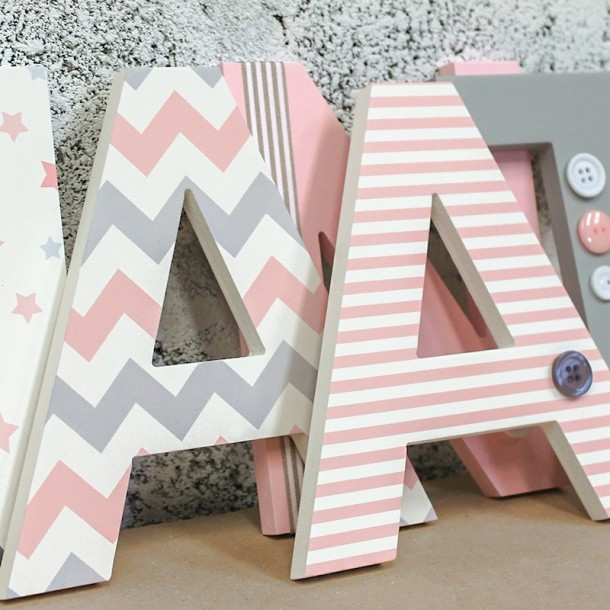 Pink + Grey Mix Wooden Letters