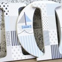 Blue + Grey Patchwork Nautical Letters