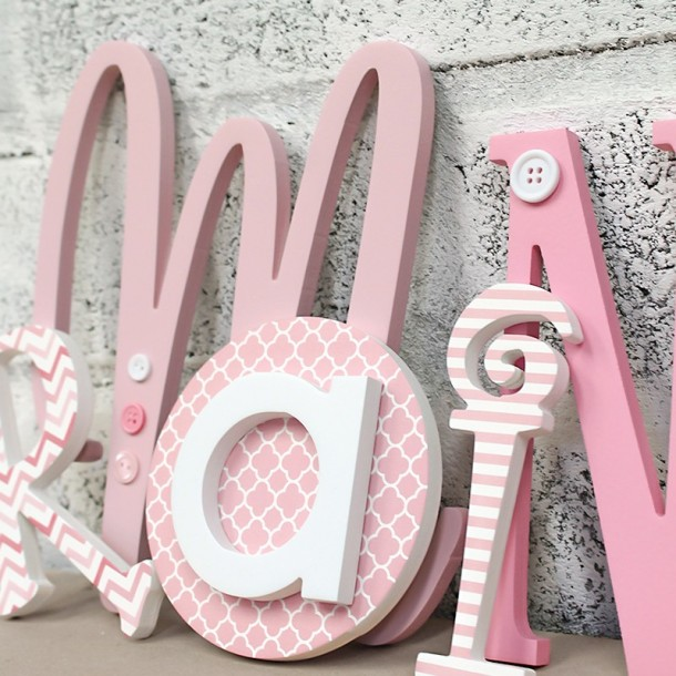 Pink Eclectic Mixed Size & Font Letters