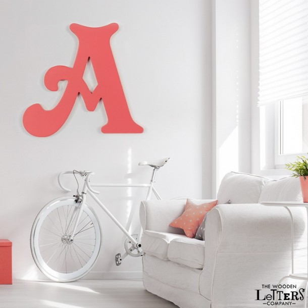 Giant Wooden Wall Letter painted coral