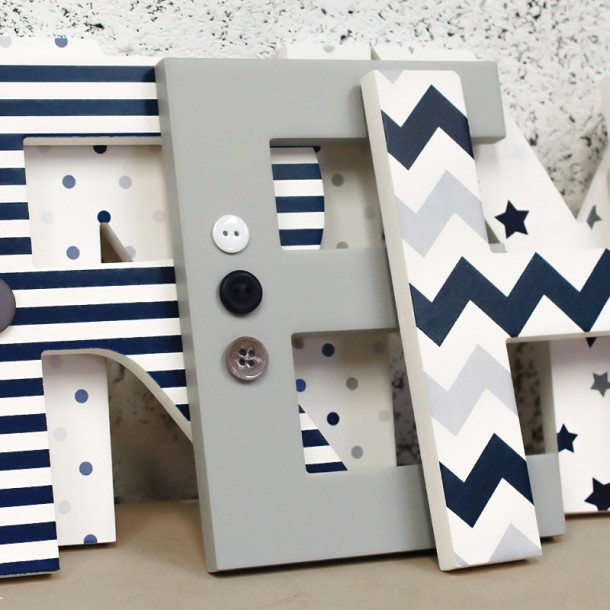 Navy + Grey Mix Wooden Letters