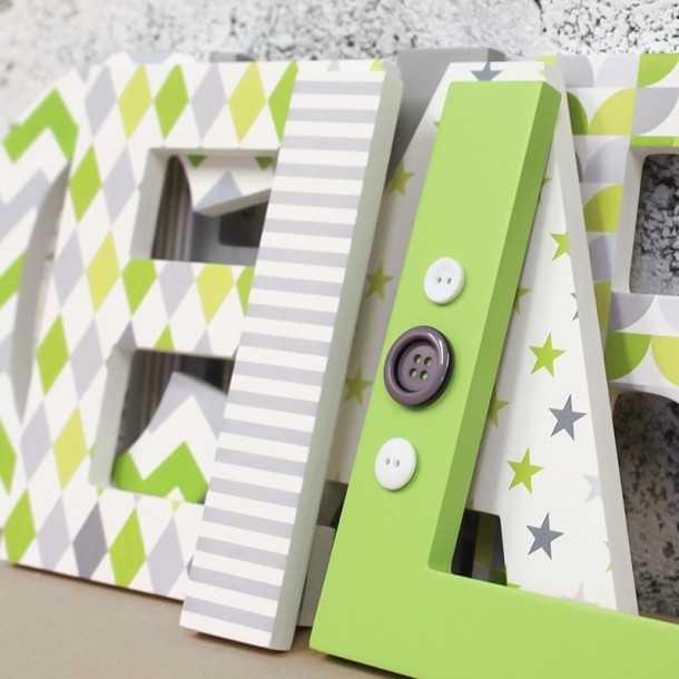 Lime + Grey Mix Letters