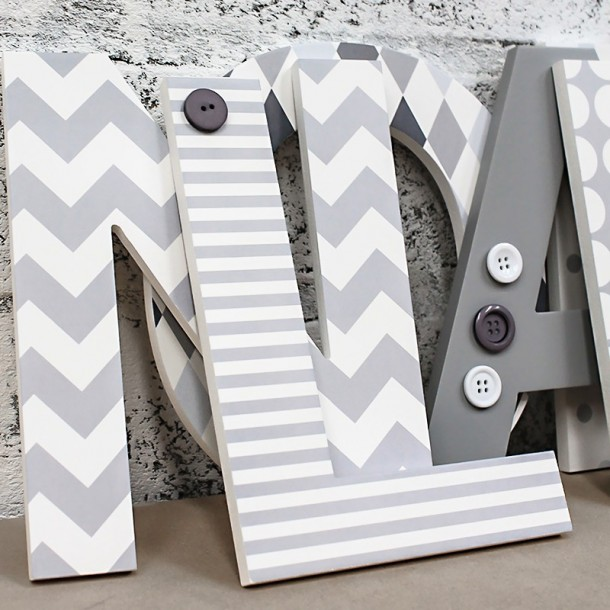White + Grey Patterned Wall Letters