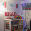 READ letters in child's room painted red