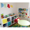 PLAY funky kruffy font letters on playroom wall