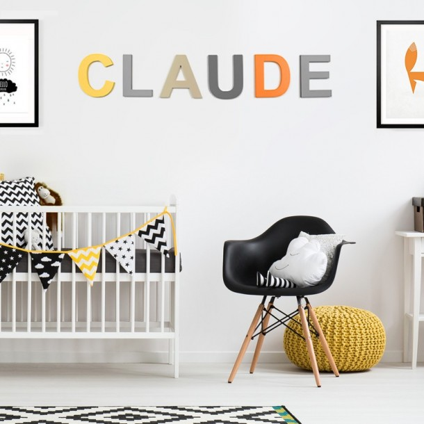Orange Grey Yellow Beige Modern Wooden Letters In Nursery