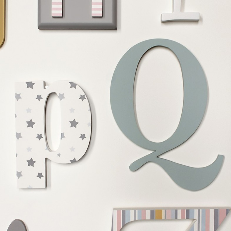Alphabet Wooden Wall Letters Full Set Blush Pink Duck