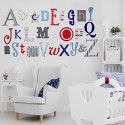 Blue, Grey, Red Alphabet Wooden Wall Letters Full Set