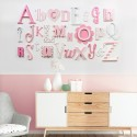 Pink Mix Full A-Z Alphabet Wall Set