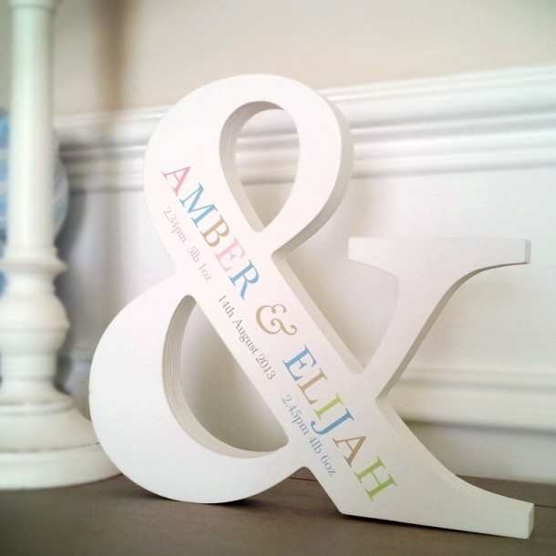 Coloured Text White Personalised Initial