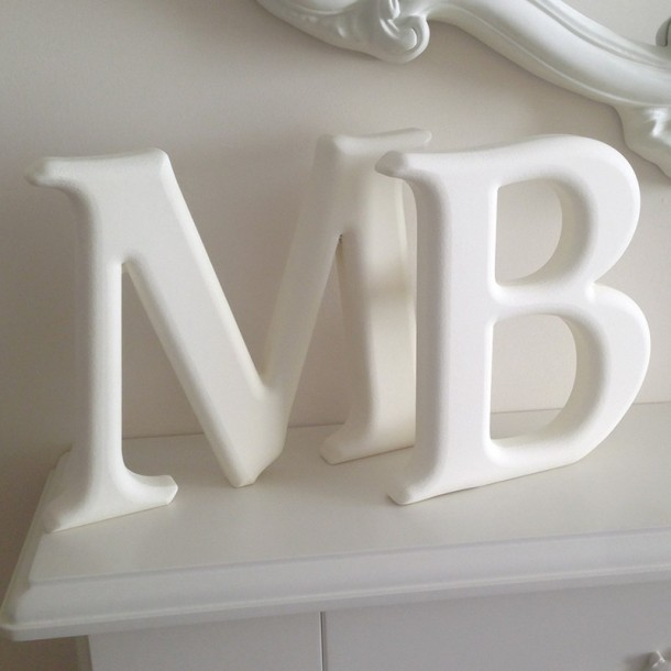 White Carved Freestanding Letters