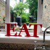 red EAT letters freestanding