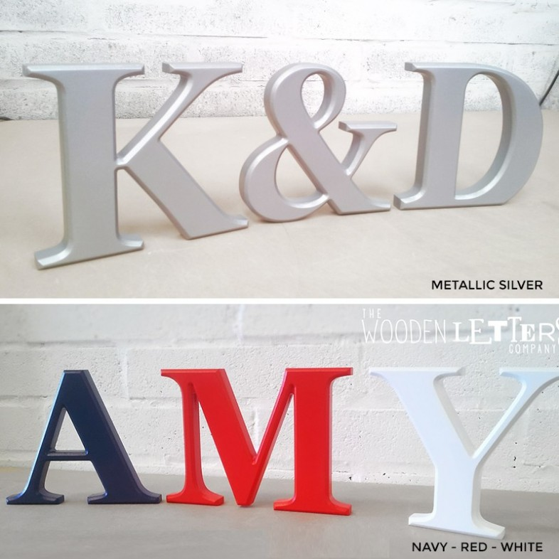 Classic freestanding wooden letters painted for Silver letters freestanding