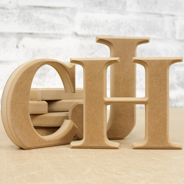 Unpainted freestanding wooden letters classic bevelled for Large freestanding wooden letters